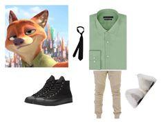 """Nick Wilde Disney bound"" by cutiepie70226 on Polyvore featuring Balmain, Geoffrey Beene, Converse, men's fashion and menswear"