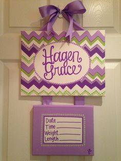 Chevron new baby door hanger birth announcement by PaintsbyJanie