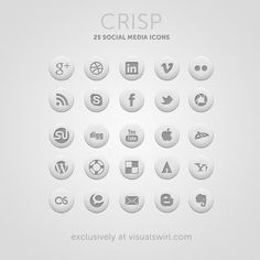 Crisp is a brand new free social media icon set produced exclusively for the readers of Visual Swirl. It consists of 25 professionally designed round icons for social media sites. Also included are a few miscellaneous icons (mail, rss, and apple) that can be used to complete a sharing section on your blog or website. The package contains icons in PNG format in 3 convenient sizes: 128x128px, 64x64px, and 32x32px.