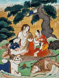 The Holy Family in his mountain abode Shiva sits with his Parvati and tiger vahana (mount) , Gansesha, Kartikeya, and Nandi. circa 1830. Mandi, India. Opaque watercolour with tooled gold on...