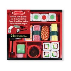 Add wasabi, if you like! This elegant 24-piece wooden sushi play-food set is packed in a beautiful storage box and includes sliceable sushi rolls, shrimp, tuna, easy-use chopsticks, a cleaver and more. Sushi rolls make realistic chopping sounds when sliced! Ages 3 yrs+.
