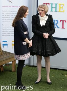 The Duchess of Cambridge (left) with Grayson Perry at Barlby Primary School, in London, where she will officially name The Clore Art Room - a national charity which offers art as therapy to children and young people aged five to 16 who are facing challenges in their lives. 15th January 2015