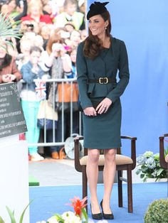 Important meeting? Skirt suiting that's matchy-matchy looks pulled together and polished. Plus this cool teal color Kate's wearing is a fresh take on a classic black version. Getty Images -Cosmopolitan.com