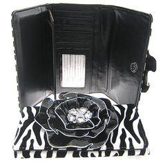 Charming! 3d Raised Flower Zebra Print Wallet (You Choose Color)