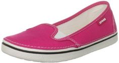 Crocs Women's Hover Slip-On Canvas Sneaker (all the comfort of CROCS without the plastic embarrassing Mickey Mouse feet). Comes in Black/Oyster, Bubblegum/Oyster, Navy/Oyster, Oyster/Oyster, Raspberry/Oyster, & True Red/Oyster.  Up to Women's size 11.