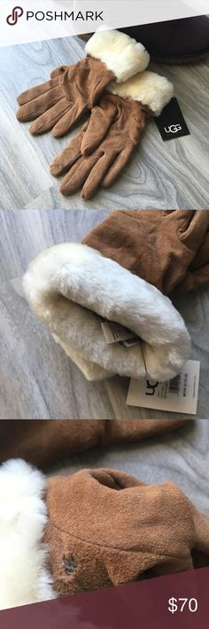 Ugg chestnut suede gloves S NWT Ugg chestnut suede gloves S NWT. Brand new. Very soft gloves. 70% wool. Originally $125. There is a hole on one of the gloves but not noticable when wearing, believe someone pulled out the tag too hard. UGG Accessories Gloves & Mittens