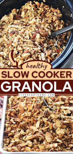 Why learn how to make granola in the crock pot? Because it's easy, mess-free, and becomes crunchy in no time! While loaded with lots of wholesome goodies, this healthy breakfast idea turns out tasty… Whole 30 Breakfast, Breakfast Dishes, Healthy Breakfast Recipes, Brunch Recipes, Healthy Slow Cooker, Slow Cooker Recipes, Crockpot Recipes, Easy Recipes, How To Make Granola