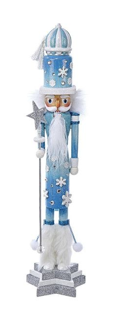 3892d8d3679f Kurt Adler 20' Hollywood Blue and White Nutcrackers with Snowflakes and Star  Staff >