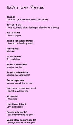 Italian Love phrases- I love Italians <3