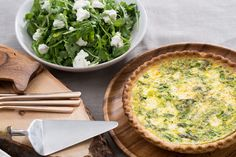 Asparagus & Leek Spring Quiche with Goat Cheese & Arugula Salad. Visit https://www.blueapron.com/ to receive the ingredients.