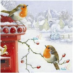 image imageYou can find Paysage noel and more on our website Christmas Bird, Christmas Scenes, Winter Christmas, Xmas, Illustration Noel, Christmas Illustration, Illustrations, Vintage Christmas Images, Christmas Pictures