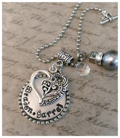 Personalized, Hand Stamped, Custom Heart Necklace. Inexpensive Gifts for Woman