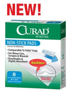 """3""""x8"""" Non-Stick Gauze Pads by Curad $2.49"""