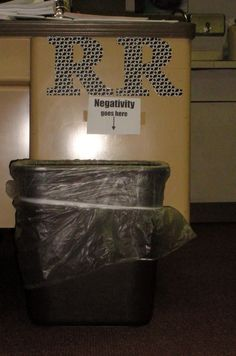 """""""negativity goes here"""" sign for above Garbage Can... and other ways to """"pimp out"""" your Leader in Me Classroom!"""