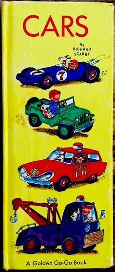 CARS By Richard Scarry ~ 1960's Children's Tall Picture GOLDEN GO-GO Board Book Go Board, Board Book, Richard Scarry, Comic Books, Cars, Children, Ebay, Young Children, Boys