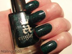 A England - Saint George deep teal holographic nail polish swatch - Nailing It