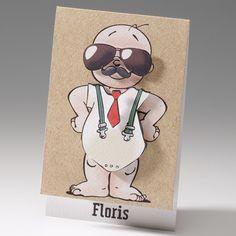 """Diese witzigen Geburtskarten """"Comic"""" wurden aus einem gehämmerten Premiumkarton exklusiv gefertigt und mit einem lustigen Comicmotiv liebevoll gestaltet. Das abgebildete Baby auf der Titelseite wird mit einer Sonnenbrille, Schnurrbart, Krawatte oder Fliege individuell aufgepeppt. Durch die aufgebrachten Applikationen wird diese Geburtskarte zu einem fröhlichen Blickfang. Bestellen Sie nur bei uns: www.top-kartenlieferant oder bei Wimmer Druck in Aachen."""