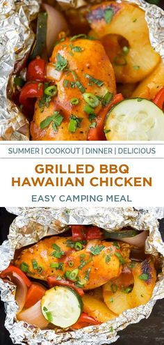 Grilled BBQ Hawaiian Chicken in Foil Packets with fresh vegetables, pineapple slices and a sweet salty bbq sauce that's grilled to perfection! This easy foil packet meal will be your new favorite dinner recipe this summer, and is perfect to prepare over a campfire or BBQ! #packetsgrill #campingmeals #grilledhawaiianbbq #hawaiianmarinade Chicken In Foil, Chicken Foil Packets, Foil Packet Meals, Ww Recipes, Light Recipes, Summer Recipes, Chicken Recipes, Healthy Eating Recipes, Healthy Eats