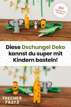 Als Deko für den #Dschungelgeburtstag dürfen auf keinen Fall jede Menge tolle #Dschungeltiere fehlen. Egal ob als t#ierische #Tischdeko oder zum #Spielen für die #Kids, #Elefant, #Affe und Co. kannst du ganz #einfach und #schnell #basteln. Alles, was du dazu brauchst sind ein paar #Klopapierrollen und unsere #Bastelvorlage für die #Dschungeltiere. Deshalb sind die Dschungeltiere zum selbst basteln auch eine super #Bastelidee für deine #Kids am #Dschungel #Kindergeburtstag. #DIY #Basteln Skateboard, Super, Safari, Photo Kids, Dekoration, Skateboarding, Skate Board, Skateboards