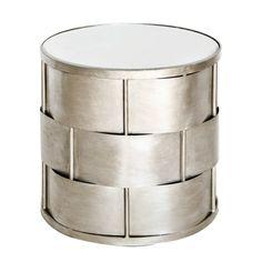 DAVIS S - Basketweave side table in champagne silver leaf w. beveled mirror top.