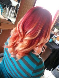 Ombre trend done right. ... Love this! Only for me, I want to reverse red and blonde.