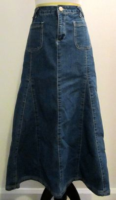 Dressbarn Womens Size 14 Long Modest Denim Jean Paneled Skirt #Dressbarn #ALine