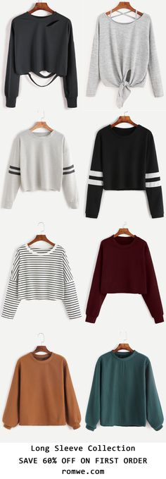 Long Sleeve Collection with soft material and low price begin at US$4.99 from romwe.com