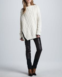 3.1 Phillip Lim - Oversized Cable Knit Pullover & Lambskin Leather Wader Pants