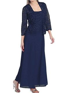 Onlinedress Womens Mother of the Bride Long Formal Lace Dress with Jacket US8 Navy Blue -- To view further for this item, visit the image link.