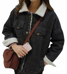 b6b9232166 ONTBYB Womens Casual Thicken Fur Lapel Wool Denim Jacket Outcoat Black XS     Check out