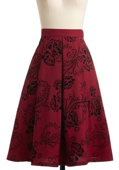 Swing in Your Step Skirt by Bettie Page - Red, Black, Floral, A-line, Party, Vintage Inspired, Winter, Long