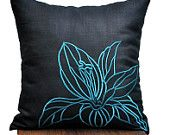 """Casablanca Embroidery  Throw Pillow Cover - 18"""" x 18"""" Decorative Pillow Cover - Black Linen with Blue Gray  Floral Embroidery"""