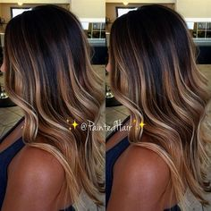 37 Sweet Caramel for 2019 Balayage is an alternative technique to traditional salon highlighting with foils. Your colorist can literally paint highlights precisely where the sun would actually hit your hair. Caramel balayage on black hair can. Ombre Hair Color, Hair Color Balayage, Haircolor, Balayage Hair Brunette Caramel, Ombre Hair Dark Skin, Caramel Balayage Brunette, Babylights Brunette, Hair Color For Tan Skin, Balayage Hair Brunette With Blonde