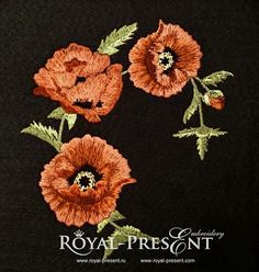 Machine Embroidery Design Poppies