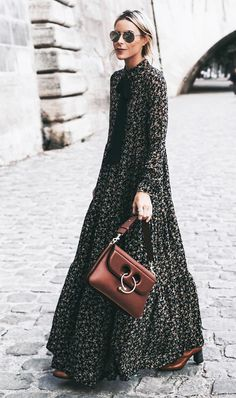 Floral dresses are not only for spring, try wearing yours during fall with toned down accessories.