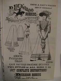 1890's Primrose Skirt in 2 Styles  by VintageVictorianVamp on Etsy, $14.50