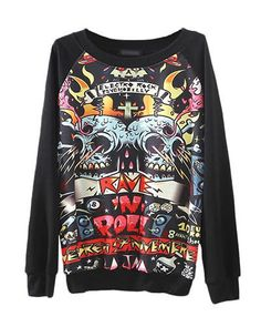 Black Skull Print Sweater from Ashbury Collections. Saved to Sweaters. Shop more products from Ashbury Collections on Wanelo.