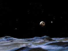 In this artist's concept, Pluto (at center) can be seen from one of the dwarf planet's moons. What would it be like to stand on Pluto's surface?