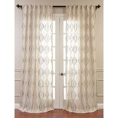 Exclusive Fabrics Suez Embroidered Faux Linen Sheer Curtain Panel