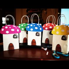 Smurf inspired mushroom house  Favor Goody bags. $27.99, via Etsy.