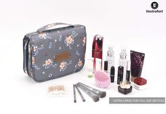 Toiletry Bag for Women, Hanging Travel Makeup Bag Water-resistant for Toiletries/Cosmetics/Brushes. Travel Toiletries, It Cosmetics Brushes, Travel Makeup, Toiletry Bag, Diaper Bag, Water, Bags, Gripe Water, Handbags