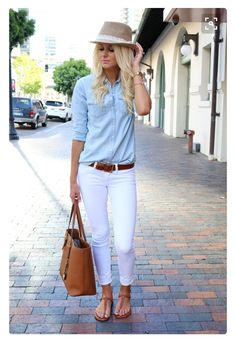 Maybe not the hat, but love the white denim and chambray shirt.