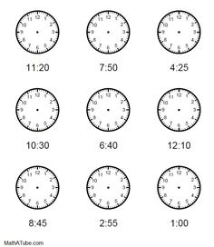Free printable time Worksheets, Draw the hands on the clock, Missing hands Time Worksheets Grade 3, Clock Worksheets, Kids Math Worksheets, Printable Worksheets, Free Worksheets, Time Sheet Printable, Clock Printable, Teaching Vocabulary, Teaching Skills