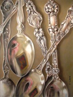 JEANNE ILLENYE - Still Lifes: sterling silver spoons orange blossom lily oil painting