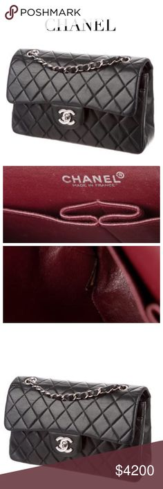 "CHANEL CLASSIC SMALL DOUBLE FLAP BAG Black quilted leather double flap Chanel Classic Small bag w silver-tone hardware, chain-link & leather shoulder straps, single pocket at back, single pocket under flap w snap closure, burgundy leather interior lining, dual pockets at interior wall, 1 pocket at opposite wall w zip closure & CC turn-lock. Approx Measurements: Drop 9"", H: 4.5"", W: 9"", D: 2.5"". Condition: Great! Ext/Int: Minor creasing/hardware scratches. Auth Card incl. Posh Concierge will…"