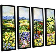 ArtWall Allan Friedlander Dream Valley 4-Piece Floater Framed Canvas Set, Size: 24 x 32, Purple