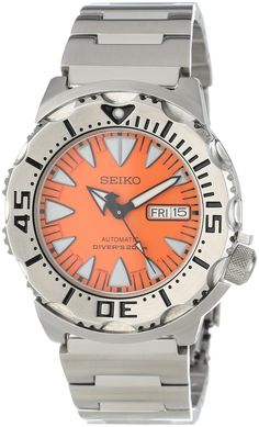 """Seiko SRP309 """"Orange Monster"""" Classic Automatic Dive Watch. $196 on Amazon."""
