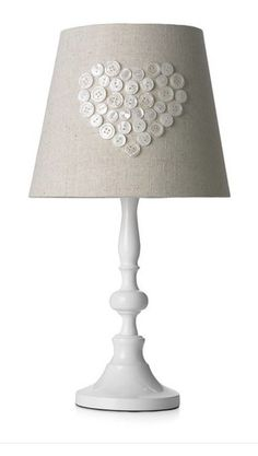 Shabby Chic BNWT Linen Button Heart Lamp