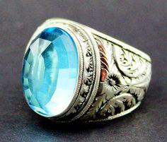 Sterling Silver 925 men ring,aquamarine lab. stone