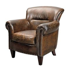 A stunning brown Vintage leather armchair. Replicating aged and worn leather, this armchair will add an old school charm to any room be it a living room, bar or study.the list can go on and on. Our Stark Vintage brown leather armchair features studding. Brown Leather Armchair, Vintage Leather Sofa, Brown Armchair, Cuir Vintage, Leather Club Chairs, Distressed Leather, Leather Sofas, Shabby Chic Armchair, Shabby Chic Antiques